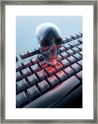 Skull On Computer Keyboard Framed Print by Victor Habbick Visions