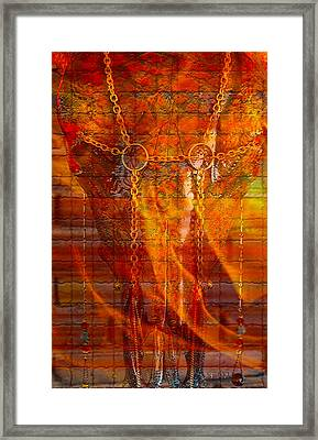 Skull On Fire Framed Print