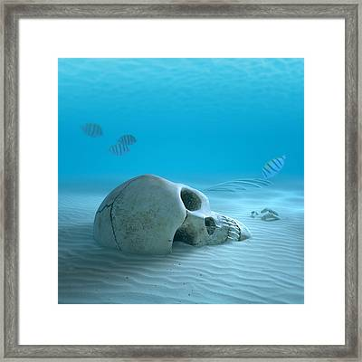 Skull On Sandy Ocean Bottom Framed Print