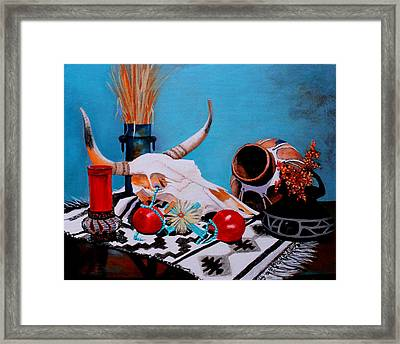 Framed Print featuring the painting Skull Still Life by M Diane Bonaparte