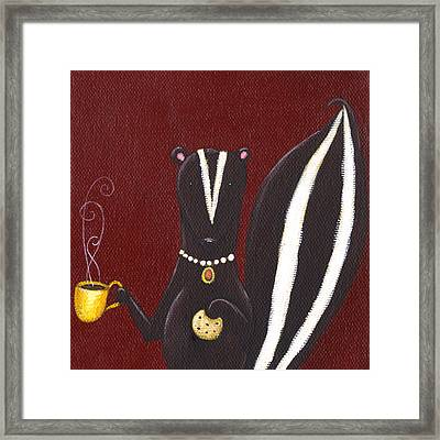 Skunk With Coffee Framed Print by Christy Beckwith