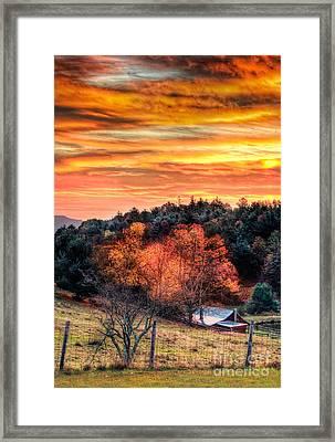 Sky Ablaze - Blue Ridge Sunrise I Framed Print by Dan Carmichael