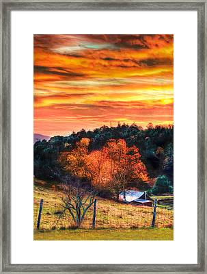 Sky Ablaze - Blue Ridge Sunrise II Framed Print by Dan Carmichael