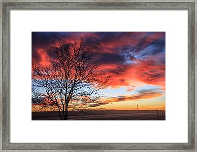 Sky Ablaze Framed Print by Shirley Heier