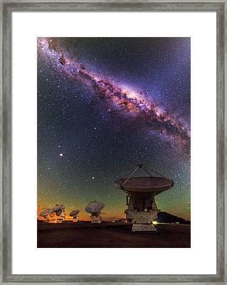 Sky Above Alma Radio Telescope Framed Print by Babak Tafreshi