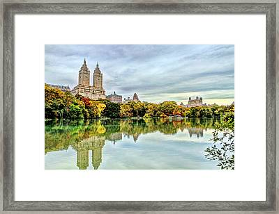 Sky And Reflections On Central Park Lake Framed Print