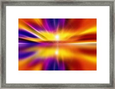 Sky And Water - Setting Sun Framed Print by Steve Ohlsen