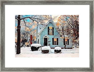 Sky Blue Gingerbread House  Framed Print by Dorothy Walker