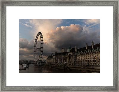 Sky Drama Around The London Eye Framed Print