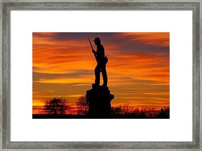 Sky Fire - 128th Pennsylvania Volunteer Infantry A1 Cornfield Avenue Sunset Antietam Framed Print by Michael Mazaika