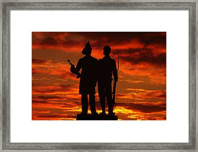 Sky Fire - 73rd Ny Infantry Fourth Excelsior Second Fire Zouaves-a1 Sunrise Autumn Gettysburg Framed Print by Michael Mazaika