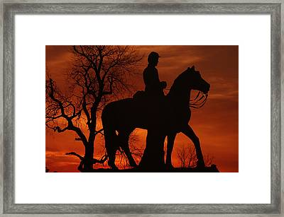 Sky Fire - 8th Pennsylvania Cavalry Regiment Pleasonton Avenue Sunset Autumn Gettysburg Framed Print