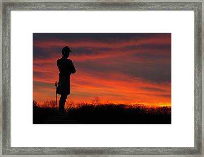 Sky Fire - Aotp 124th Ny Infantry Orange Blossoms-2a Sickles Ave Devils Den Sunset Autumn Gettysburg Framed Print by Michael Mazaika