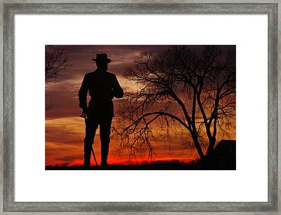 Sky Fire - Brigadier General John Buford - Commanding First Division Cavalry Corps Sunset Gettysburg Framed Print by Michael Mazaika