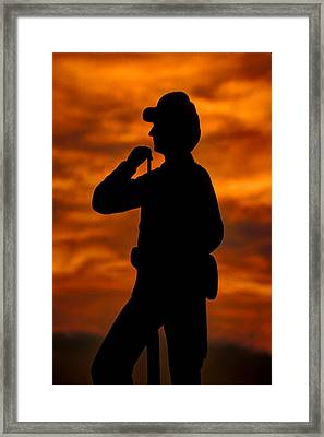 Sky Fire - Flames Of Battle 7th Pennsylvania Reserve Volunteer Infantry-a1 Sunset Antietam Framed Print by Michael Mazaika