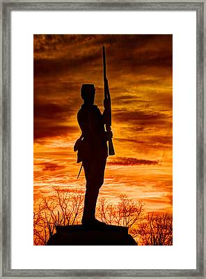 Sky Fire - The Flames Of War - 11th Pennsylvania Volunteer Infantry At Gettysburg - Sunset Close1 Framed Print by Michael Mazaika