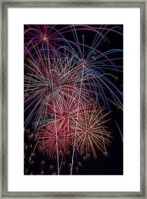 Sky Full Of Fireworks Framed Print by Garry Gay