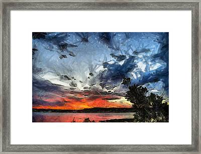 Framed Print featuring the painting Sky by Georgi Dimitrov