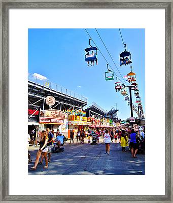 Sky Glider Wisconsin State Fair  Milwaukee Wi Framed Print by Carol Toepke