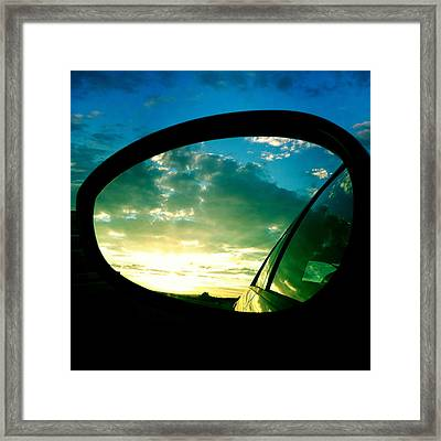 Sky In The Rear Mirror Framed Print