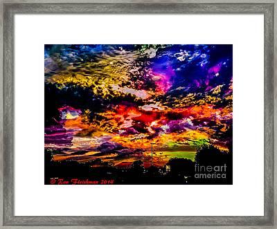 Sky Log Jam Framed Print by Ron Fleishman