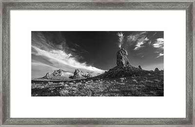 Sky Masters - Trona Pinnacles - Black And White Framed Print by Peter Tellone