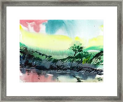 Sky N Lake Framed Print by Anil Nene