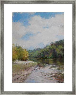 Sky River Trees  Framed Print by Nancy Stutes
