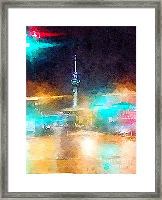 Sky Tower By Night Framed Print by HELGE Art Gallery
