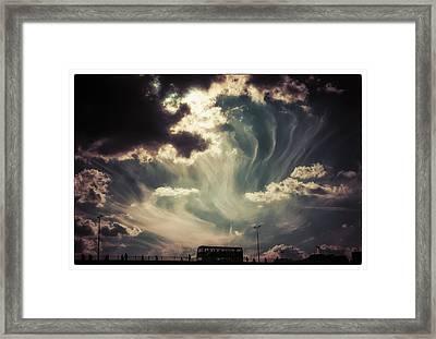 Sky Wisps Over A Double Decker Framed Print
