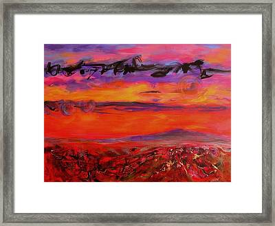 Framed Print featuring the painting Sky Writing by Mary Schiros