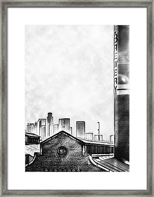 Skyline - Los Angeles Brewery And Downtown - Black And White Framed Print by Brian Yasumura Jr