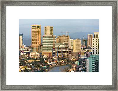 Skyline Along Manila Bay, Manila Framed Print by Keren Su