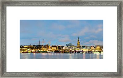 Skyline At Dusk Along Elbe River Framed Print by Panoramic Images