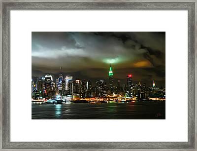 Skyline At Night Framed Print by Artistic Photos
