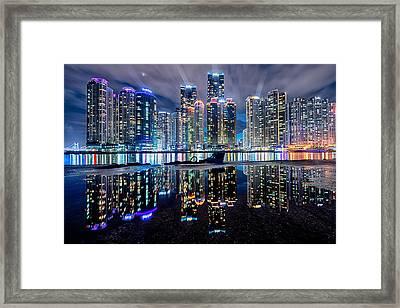 Skyline At Night Framed Print by Keith Homan