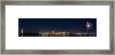 Skyline Fireworks Framed Print by Andy Crawford