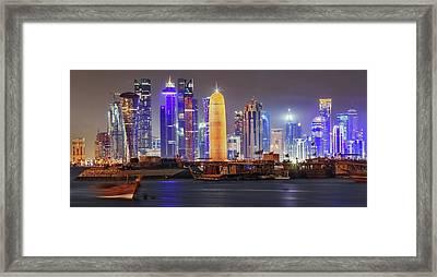 Skyline In Doha Framed Print