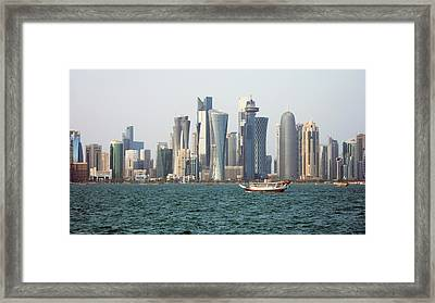 Skyline In Doha Framed Print by Bob Edwards