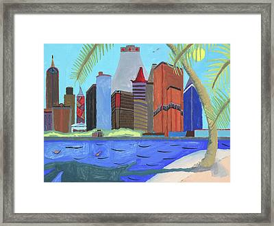 Framed Print featuring the painting Skyline by Artists With Autism Inc