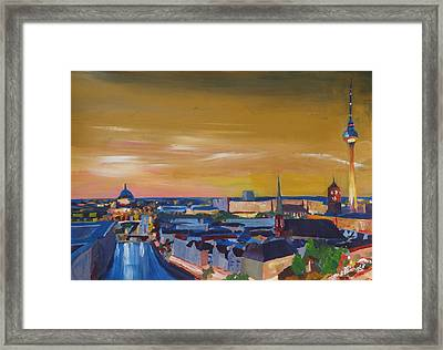 Skyline Of Berlin At Sunset Framed Print by M Bleichner