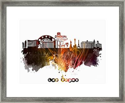 skyline of Las Vegas Nevada United States Framed Print