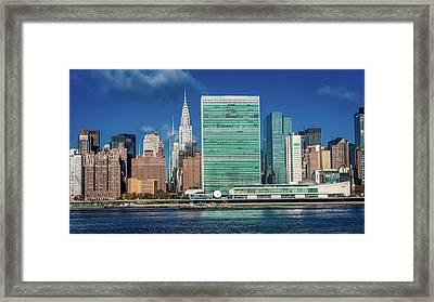 Skyline Of Midtown Manhattan Seen Framed Print