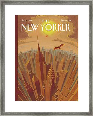 Skyline Of Nyc At Sunset With Icarus Flying Close Framed Print by Eric Drooker
