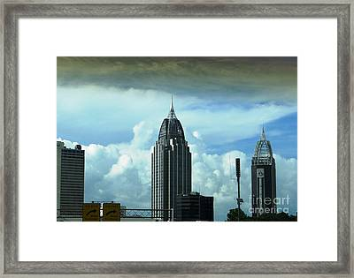 Framed Print featuring the photograph Skyline Over  Mobile by Ecinja Art Works