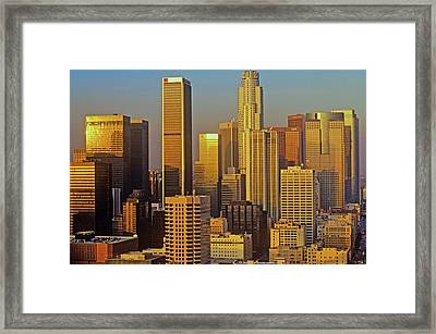 Skyline View Of Downtown Los Angeles Framed Print