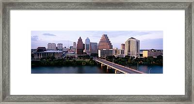 Skylines In A City, Lady Bird Lake Framed Print by Panoramic Images