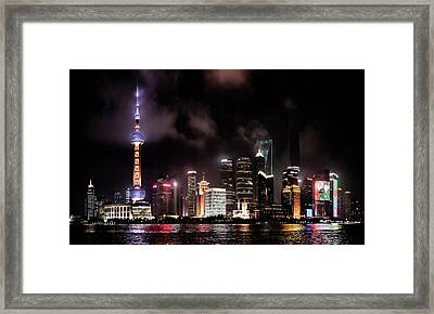 Skylines Lit At Night, Oriental Pearl Framed Print