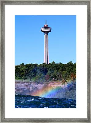 Framed Print featuring the photograph Skylon Tower Niagara Falls by Jemmy Archer