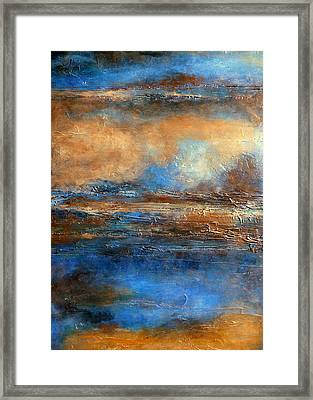 Skyrim A Heavily Textured Blue Brown And Beige Abstract Painting Framed Print by Holly Anderson